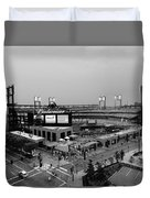 Busch Stadium From The East Garage Black And White Duvet Cover