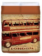Buses Of Vintage England Duvet Cover