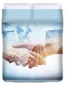 Business Handshake Over Modern Skyscrapers, Double Exposure. Duvet Cover