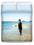 Business Man At The Beach With Surfboard Duvet Cover