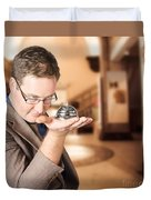 Business Man With Service Bell. Consumer Advice Duvet Cover