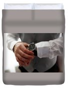 Businessman Looking At His Watch In Office Duvet Cover