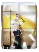 Businessman Walking In Direction Of Road Arrow Duvet Cover