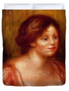 Bust Of A Woman In A Red Blouse Duvet Cover