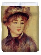 Bust Of A Woman Wearing A Hat 1881 Duvet Cover