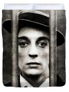 Buster Keaton, Vintage Actor Duvet Cover