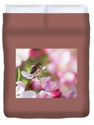 Busy Bee On A Crabapple Tree Duvet Cover