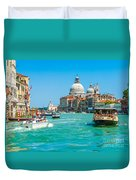 Busy Canal Grande In Venice Duvet Cover