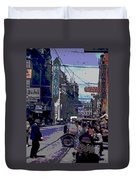 Busy  City Street Duvet Cover