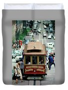 Busy Day On The California Street Cable Car Incline Duvet Cover
