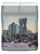 Busy Morning In Downtown Mississauga Duvet Cover