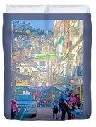 Busy Street In Central Marketplace In Rocinha Favela In Rio De Janeiro-brazil  Duvet Cover