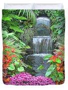 Butchart Gardens Waterfall Duvet Cover