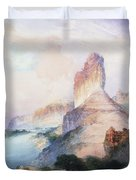 Butte Green River Wyoming Duvet Cover by Thomas Moran