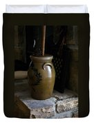Butter Churn On Hearth Still Life Duvet Cover