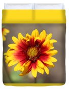 Butter Yellow And Crimson Red Coneflower Duvet Cover