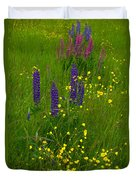 Buttercups And Lupines Duvet Cover