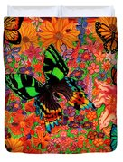 Butterflies And Flowers Duvet Cover