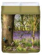 Butterflies In A Bluebell Woodland Duvet Cover