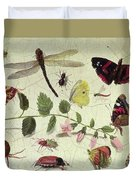 Butterflies, Insects And Flowers Duvet Cover
