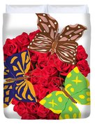 Butterflies On Roses Duvet Cover