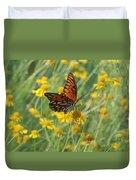 Butterfly And Flowers Duvet Cover