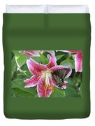Butterfly And Lilly Duvet Cover