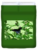 Butterfly And Mossy Pond Duvet Cover