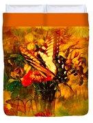 Butterfly Atop Flower Arrangement Duvet Cover