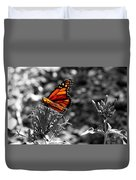 Butterfly Color On Black And White Duvet Cover