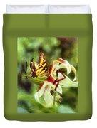 Butterfly Daylily Duvet Cover