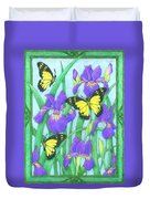 Butterfly Idyll-irises Duvet Cover