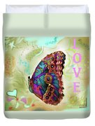 Butterfly In Beige And Teal Duvet Cover