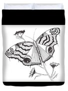 Butterfly In Black And White Duvet Cover