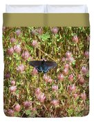 Butterfly In Clover Duvet Cover