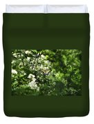 Butterfly In Muted Green Background Duvet Cover
