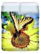 Butterfly Meets Sunflower Duvet Cover