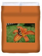 Butterfly On A Blooming Orange Daylily Flower Blossom Duvet Cover