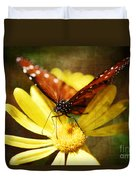 Butterfly On A Daisy  Duvet Cover
