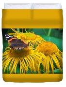 Butterfly On Chrysanthemum Flowers Duvet Cover