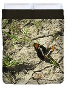 Butterfly On Cracked Ground Duvet Cover