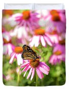 Butterfly On Flowers Duvet Cover