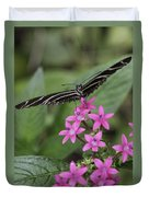 Butterfly On Pink Flowers Duvet Cover