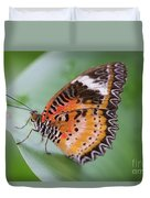 Butterfly On The Edge Of Leaf Duvet Cover by John Wadleigh