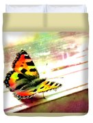 Butterfly On The Window Frame Watercolor Duvet Cover