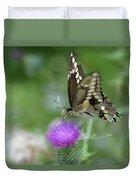 Butterfly On Thistle Flower Duvet Cover