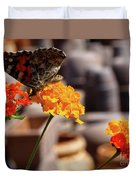 Butterfly On Yellow Flower Duvet Cover