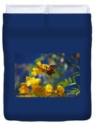 Butterfly Pollinating Flowers  Duvet Cover