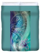 Butterfly Wing With Lotus Duvet Cover