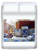 Buy Original Montreal Paintings Beauty's Winter Scenes For Sale Achetez Petits Formats Tableaux  Duvet Cover